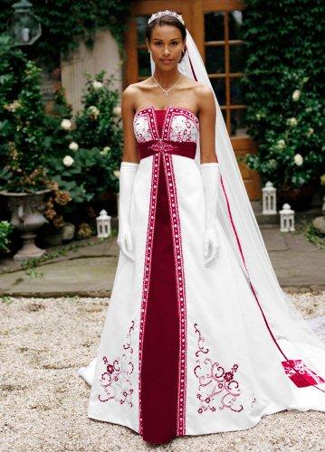David's Bridal Wedding Dress: Satin A-Line  Split