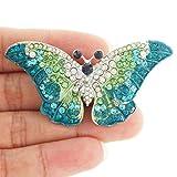 EVER FAITH® Cute Butterfly Brooch Blue Austrian Crystal Silver-Tone