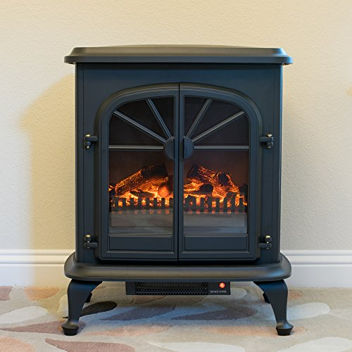 Wellington Free Standing Electric Fireplace Stove 28 Inch Black Portable Electric Vintage