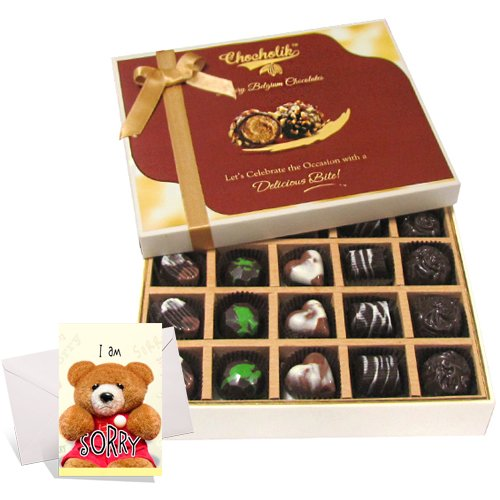 Precious Collection Of Dark And Milk Chocolates With Sorry Card - Chocholik Belgium Chocolates