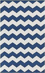 Blue Rug Modern Striped Design 9-Foot x 12-Foot Cotton Flat-Woven Chevron Dhurry