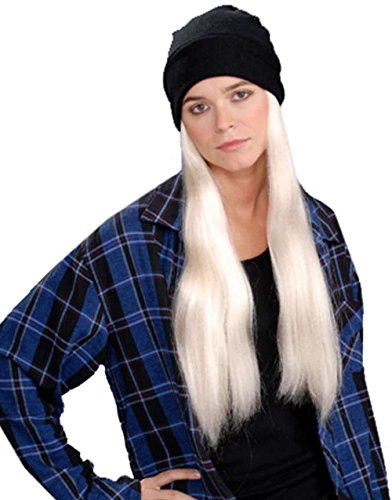 Dirty 90s Grunge Black Beanie Hat With Blonde Wig Costume Accessory