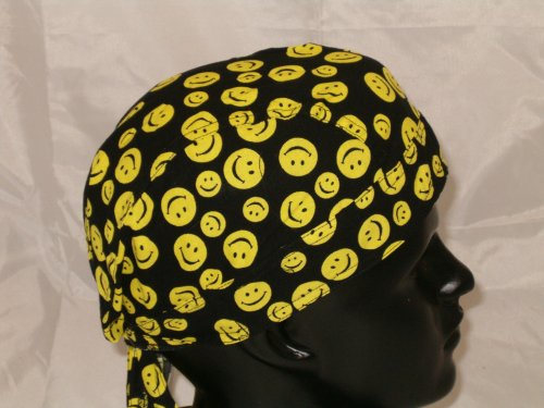 Yellow Smiley Face, Be Happy Headwrap, Medical Scrub Surgical Cap, Happy Face Welder's Cap, Polka Dot Bandana, Novelty Head Wrap, Festive, Fun Black with Small Yellow Smiley Dots Design, Breathable 100% Cotton, One Size to Fit Men, Women and Teens, America, USA, Suitable for Athletes, Welding, Medical, Healthcare, Bikers, Truckers, Painters and Food Workers to Keep Hair Out of Face