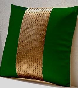 Amazon Com Throw Pillows Green Gold Color Block In Art