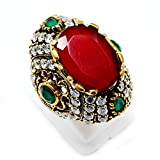 silvesto Inde Vert émeraude, rubis (Lab) Bague en Argent Sterling 925avec Topaze Bronze Turc Blanc Sz 7,5pg-7041