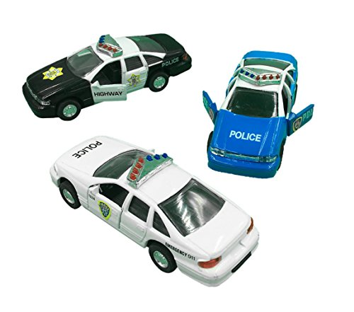 Police Car Die Cast Metal, 5 Inch Pull Back Police Cars, Open-able Doors, Rubber Tires, Full Metal Body, Set of 3 (Police Car Doors Open compare prices)