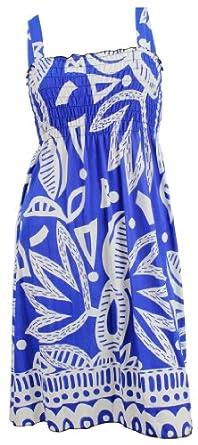 #801 NY Deal Women's Smoked Tube Dress Cover Up, 24-blue, Medium