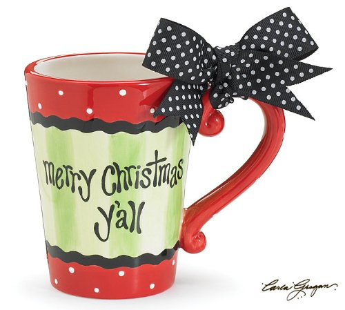 Merry Christmas Y'all Mug Red Green Black Polka Dots