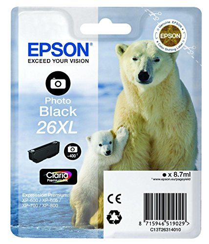 Epson C13T26314020 Photo Black 26XL, 8.7 ml, Inkjet / Getto d'Inchiostro Cartuccia Originale