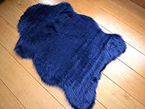 Navy Blue Faux Fur Sheepskin Style Rug by Rugs Supermarket