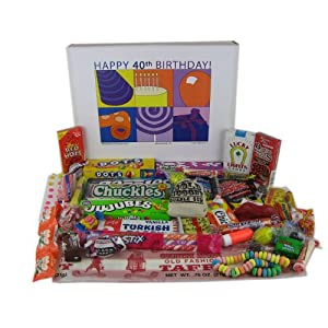 Click to buy 40th Birthday Gift Basket Box of Retro Candyfrom Amazon!