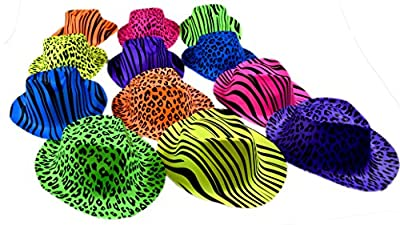 Dazzling Toys Neon Animal Print Gangster Hats - 24 Pack (D025/2)
