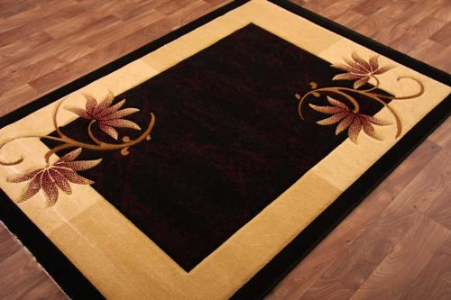 Hand Carved Black, Beige  &  Red Traditional Rug 120cm x 170cm(3ft 11