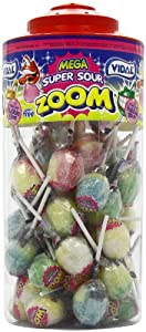 Vidal Mega Zoom Sour Lollies (Pack of 1, Total 50 Pieces)