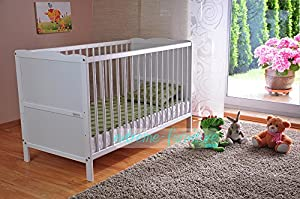 White Solid Wood Baby Cot Bed & Deluxe Foam Mattress Converts into a Junior Bed - ✔3 Position Base Heights ✔4 inch Mattress ✔RRP£210 (White) by Extreme Furniture