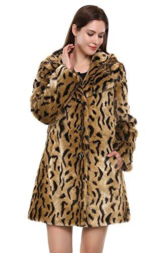 Jmueh Women's Elegant Vintage Leopard Print Lapel Faux Fur Coat Mid-Length 0