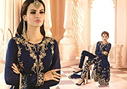 New Arrival Blue Georgette Heavy Embroidery Semi Stitched Salwar Suit Dress Collection by Regalia Fashion