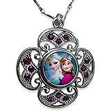 Eingefroren.'Frozen' Snow Queen Elsa und Prinzessin Anna Portrait Glas Cabochon Halskette mit Kristall Halskette mit Surround
