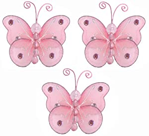 Butterfly decor 3 pink mini x small wire for Baby shower decoration butterfly