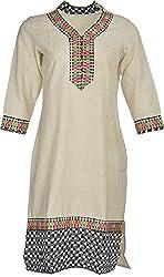 Artisan Women's Cotton Straight Kurta (CZF10042_XL, Off White, XL)