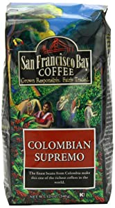 San Francisco Bay Coffee Whole Bean, Colombian Supremo, 12 Ounce (Pack of 3)