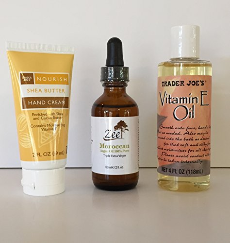 Trader Joe's Vitamin E Oil- 2oz, Zee 3x Extra Virgin 100% Organic Moroccan Argan Oil- 2oz, & TJ's Nourishing and Moisturizing Shea Butter Hand Cream- 2oz. A Luxurious Any Day Gift Bundle (3 Items) (Amway Spot Remover Spray compare prices)