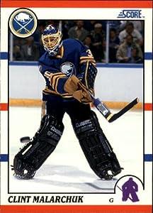 1990-91 Score #289 Clint Malarchuk UER/(Photo actually/Tom Barrasso at
