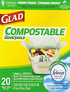 Glad OdorShield 100% Compostable Small Kitchen Quick-Tie Trash Bags, Fresh Clean, 2.6 Gallon, 20 Count (Pack of 2)