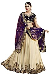 Ishin Lycra Santoon Net Party Wear Embellished Beige & Blue Lehenga