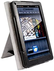 Tuff-Luv Bi-Stand Faux Leather case cover with stands for Kindle Fire (not compatible with Fire HD) - Black