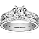 Kobelli 7/8 cttw Princess and Round Diamond 14k Gold Wedding Ring Set