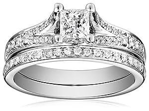 Kobelli 7/8 cttw Princess and Round Diamond 14k Gold Wedding Ring Set, Size 6