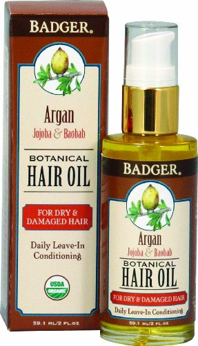 Badger Argan Hair Oil - For Dry & Damaged Hair 2 Ounce
