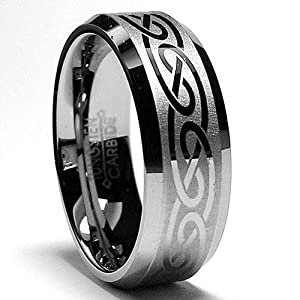 8MM Tungsten Ring with Laser Etched Celtic Design Size 12