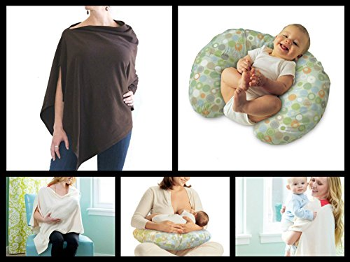 Breastfeeding Deluxe Pack: Boppy Nursing Pillow with Lots O Dots Cover + Nursing Cover Shawl (Chocolate)