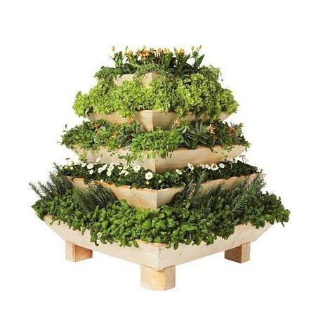 Cedar 5-Tier Trio Plant Pyramid