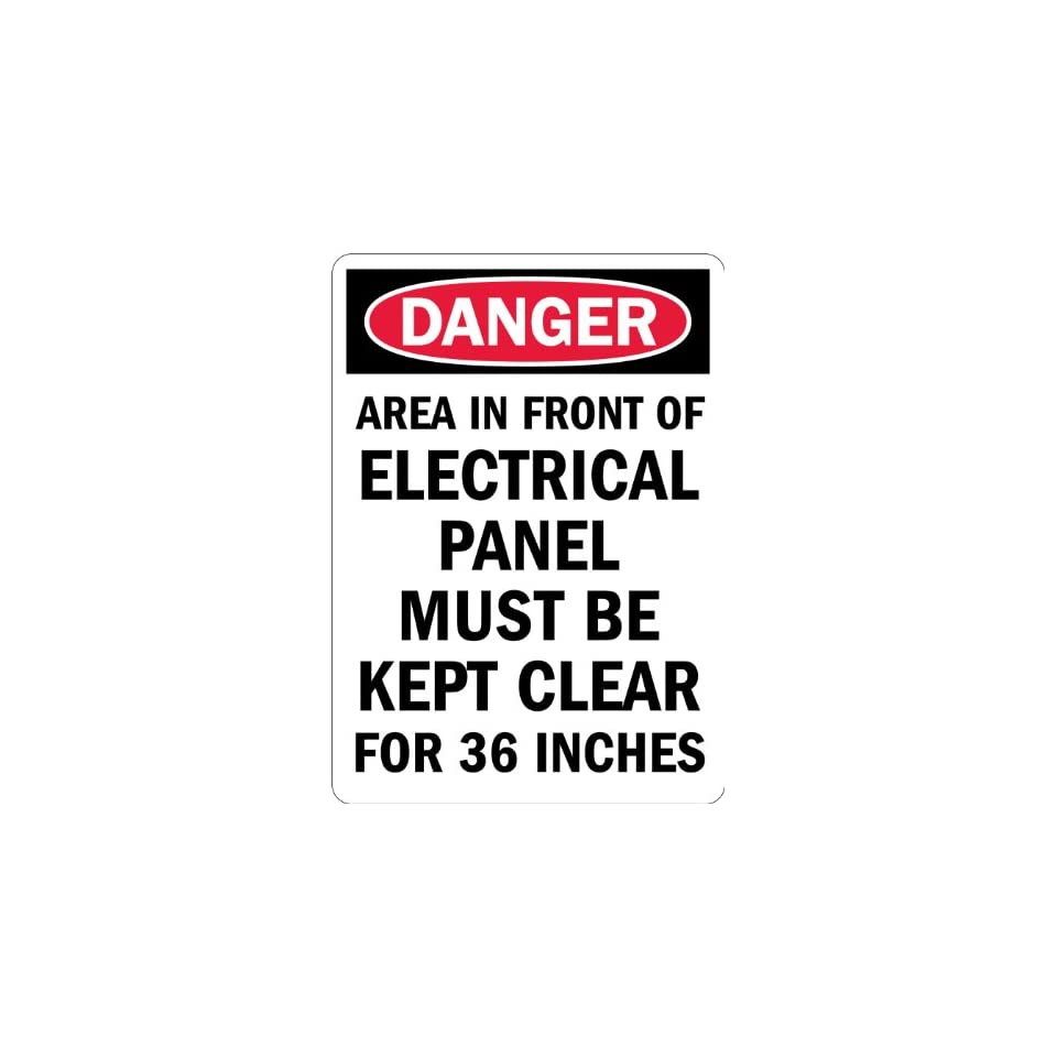 SmartSign Adhesive Vinyl Label, Legend Danger Electrical Panel Must Be Kept Clear, 14 high x 10 wide, Black/Red on White