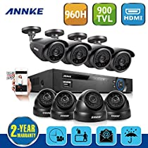 ANNKE 8CH Full 960H CCTV DVR + Super 8 900TVL Superior Night Vision Outdoor/Indoor Video Surveillance Security Camera System QR Code Scan Remote Access No HDD (4 Bullet+4 Dome cameras--NO HDD)