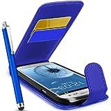 Blau für Samsung I9300 Galaxy S III S3 Imitat Leder Tasche Hülle Schale, Eingabestift, Schutzfolie, Zubehör Set