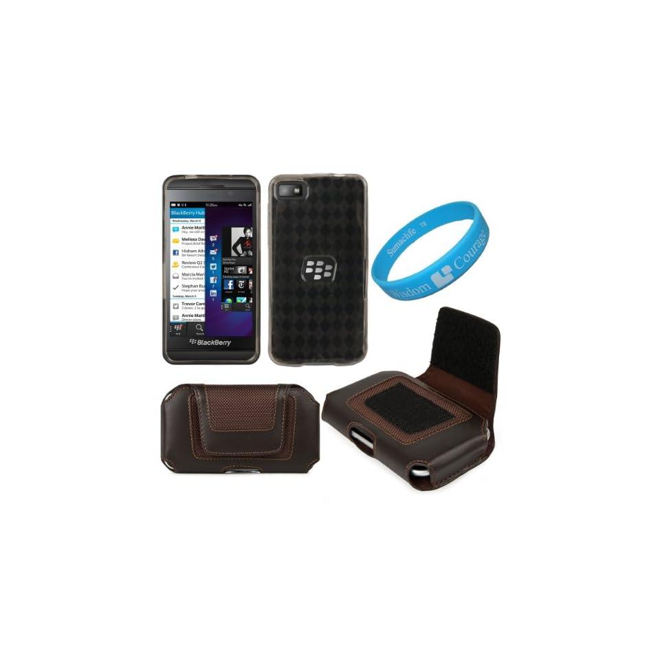 Brown Exucutive Horizontal Leather Nylon Holster Case (Size 5) for BlackBerry Z10 Smart Phone + Smoke Argyle Premium TPU Skin Cover Case + SumacLife TM Wisdom Courage Wristband