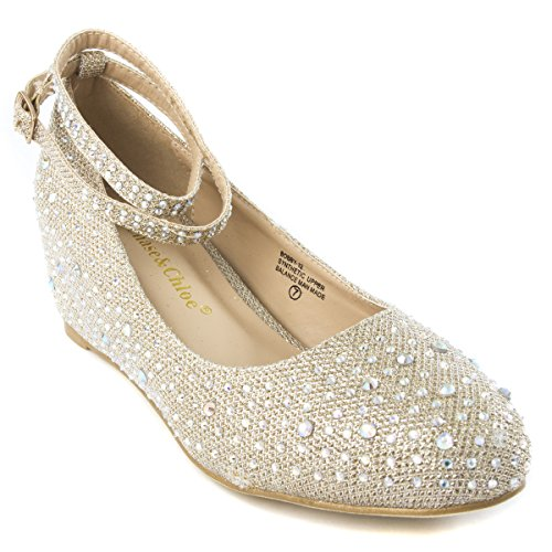 V-Luxury Womens 36-Bobby12 Round Toe Med Low Heel Wedge Pump Shoe, Champagne, 9 B (M) Us