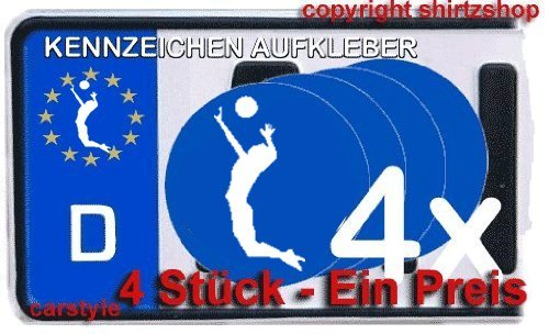 VOLLEYBALL II BEACHVOLLEYBALL VOLLEY BALL 4er set NUMMERNSCHILD Aufkleber Autoaufkleber Sticker
