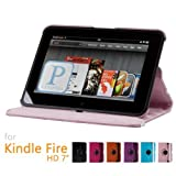 GMYLE(TM) Pink PU Leather 360 Degree Rotating Slim Flip Folio Stand Cover Case With Auto Wake Up Sleep Function...