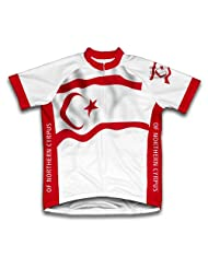 Turkish Republic Of Northern Cyrpus Flag Short Sleeve Cycling Jersey for Women