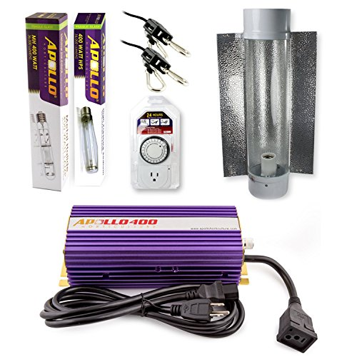 Apollo Horticulture GLK400CT24E 400 Watt Grow Light Digital Dimmable HPS MH System for Plants Cool Tube Hood Set (Cool Tube Kit compare prices)