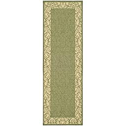 Safavieh Courtyard Collection CY2727-1E06 Olive and Natural Indoor/ Outdoor Runner, 2 feet 3 inches by 10 feet (2\'3\