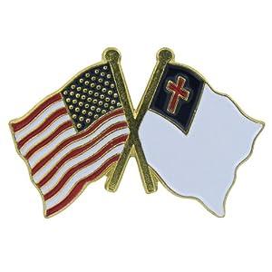 US Flag Store Lapel Pin USA and Christian Flag