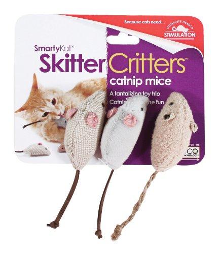 SmartyKat Skitter Critters Cat Toy Catnip Mice, 3 Pack