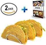 Taco Holders Premium Stainless Steel Rack Restaurant Style Stands 3 Small To X Large Soft And Hard Shells Perfect For Hotdogs And Wraps (Package Of 2) Plus Bonus Recipes