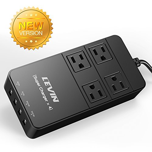 Cheapest Prices! Levin UC-0006 4 Outlet Home/Office Smart Charger with 4 AC Plugs and 4 USB Charger ...
